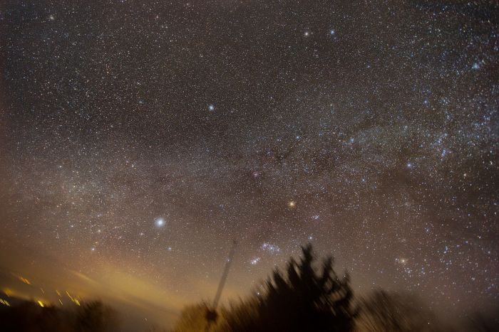 Winter Milky Way and Orion Setting Down